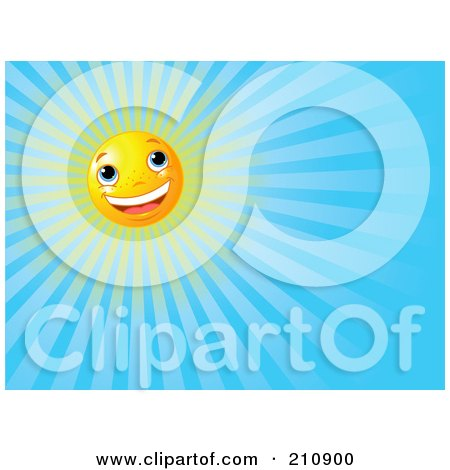 Royalty-Free (RF) Clipart Illustration of a Cheery Sun Face Shining In A Clear Blue Sky by Pushkin