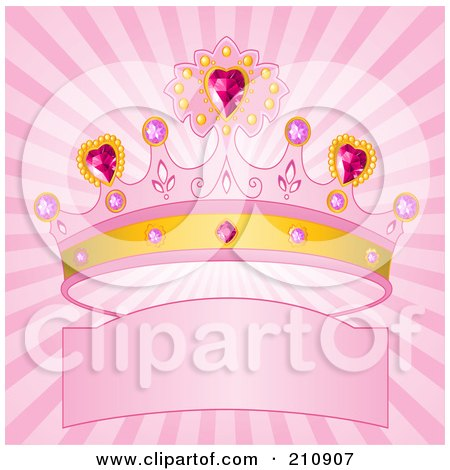 Royalty-Free (RF) Clipart Illustration of a Bursting Pink Background With A Princess Crown Over A Banner by Pushkin