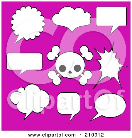 Royalty-Free (RF) Clipart Illustration of a Digital Collage Of Black And White Speech Bubbles And A Cute Skull Over Pink by Pushkin