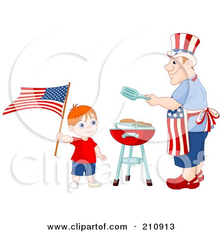 Royalty-Free (RF) Clipart Illustration of a Patriotic Boy Waving An American Flag Near His Dad As He Barbecues Food For A Fourth Of July Picnic by Pushkin
