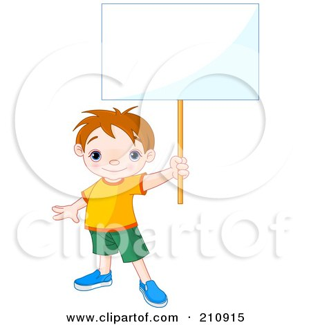 Royalty-Free (RF) Clipart Illustration of a Cute Toddler Boy Proudly Holding Out A Blank Sign by Pushkin