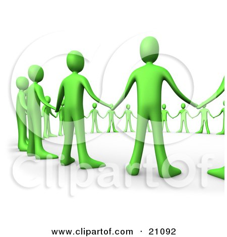 Clipart Illustration of a Closeup Of Green People Hand In Hand, Standing In A Circle Of Support by 3poD