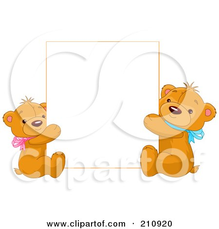 Royalty-Free (RF) Clipart Illustration of Two Cute Teddy Bears Holding Up A Blank Sign by Pushkin