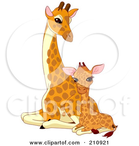 Royalty-Free (RF) Clipart Illustration of a Cute Baby Giraffe Sitting Beside Its Mother by Pushkin