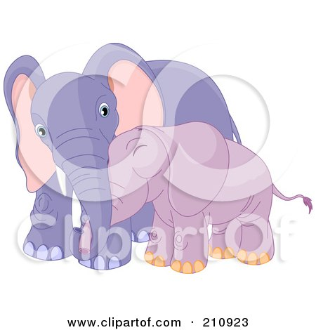 Royalty-Free (RF) Clipart Illustration of a Cute Baby Purple Elephant Cuddling With Its Mother by Pushkin