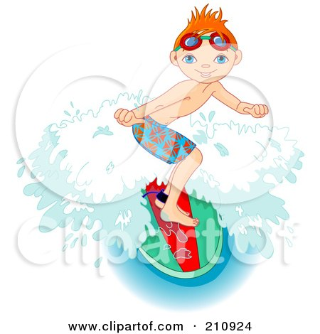 Royalty-Free (RF) Clipart Illustration of a Sporty Young Boy Riding A Wave On A Surfboard by Pushkin