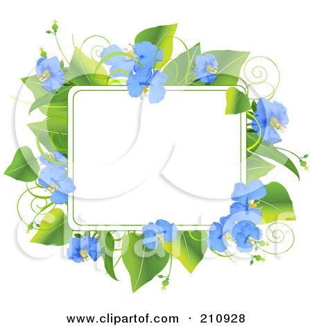 Royalty-Free (RF) Clipart Illustration of a Frame Of Green Leaves And Beautiful Blue Flowers by Pushkin