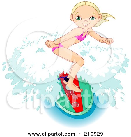 Royalty-Free (RF) Clipart Illustration of a Sporty Young Girl Riding A Wave On A Surfboard by Pushkin