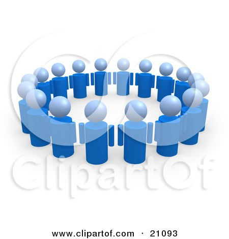 Clipart Illustration of a Group Of Blue People Standing In A Circle Of Support by 3poD