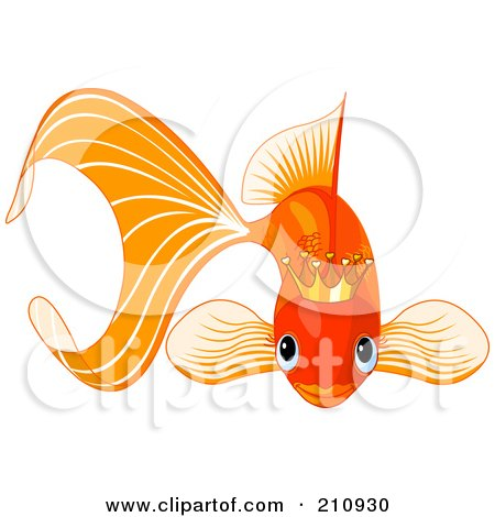 Royalty-Free (RF) Clipart Illustration of a Cute Goldfish Wearing A Golden Crown by Pushkin