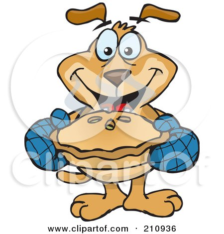 Royalty-Free (RF) Clipart Illustration of a Sparkey Dog Holding Out A Hot Pie by Dennis Holmes Designs