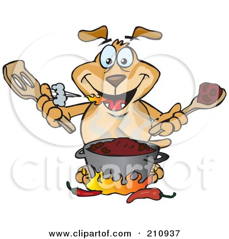 Royalty-Free (RF) Clipart Illustration of a Sparkey Dog Cooking Spicy Chili by Dennis Holmes Designs