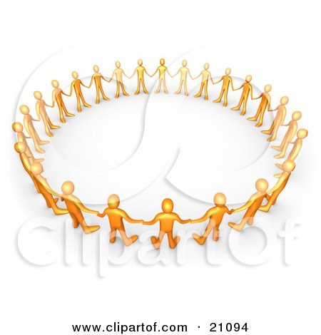Clipart Illustration of Orange People In A Group, Holding Hands And Standing In A Circle, Symbolizing Support And Teamwork by 3poD