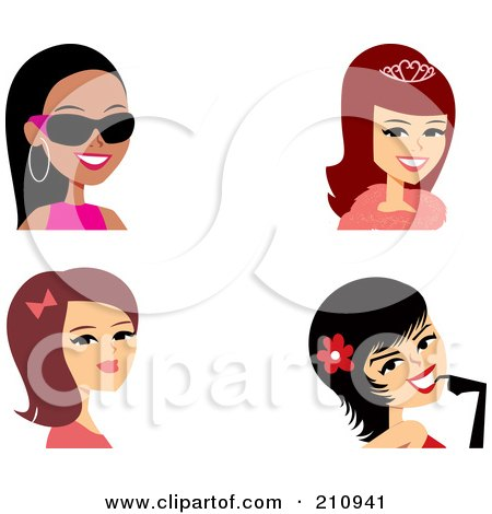 Royalty Free RF Clipart Illustration Of A Digital Collage Of Four Fashionable Female Avatars