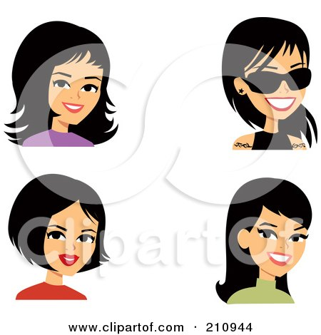 Royalty-Free (RF) Clipart Illustration of a Digital Collage Of Four Black Haired Women Avatars by Monica