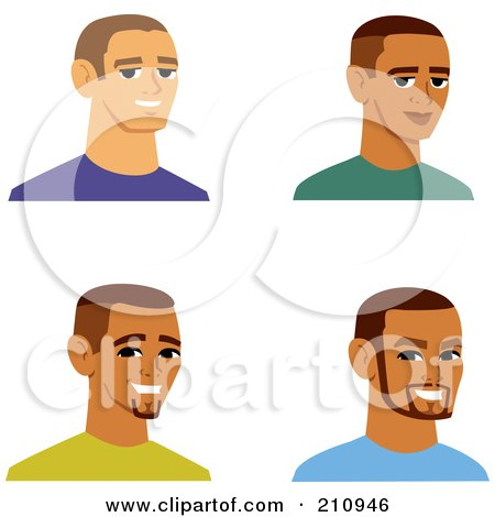 Royalty-Free (RF) Clipart Illustration of a Digital Collage Of Four Smiling Male Avatars - 7 by Monica