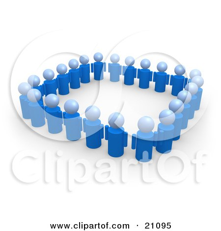 Clipart Illustration of a Group Of Blue People Standing Side By Side And Forming A Square by 3poD