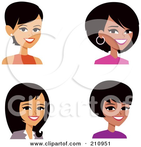 Digital Collage Of Four Professional Women Avatars