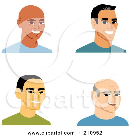 Royalty-Free (RF) Clipart Illustration of a Digital Collage Of Four Smiling Male Avatars - 1 by Monica
