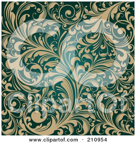 Royalty-Free (RF) Clipart Illustration of an Ornate Background Of Beige Flourishes Over Teal by OnFocusMedia