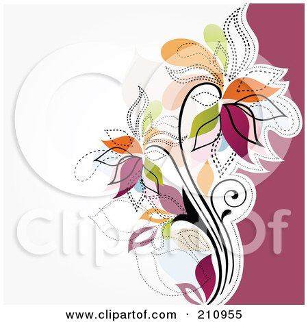 Royalty-Free (RF) Clipart Illustration of a Colorful Flourish Over White And Pink by OnFocusMedia