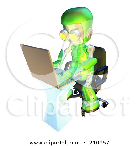 Royalty-Free (RF) Clipart Illustration of a 3d Green Robot Character Using A Laptop At A Desk by AtStockIllustration