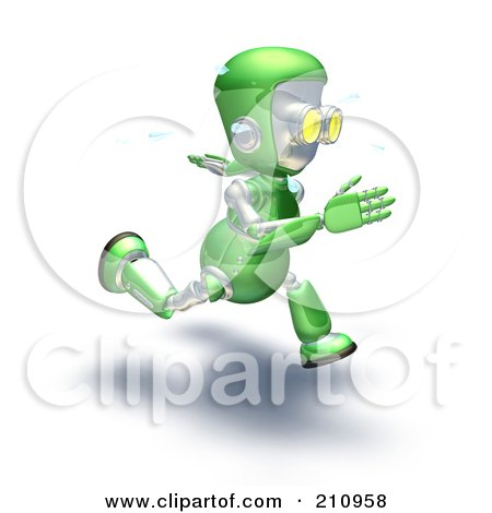 Royalty-Free (RF) Clipart Illustration of a 3d Green Robot Character Sweating And Sprinting by AtStockIllustration