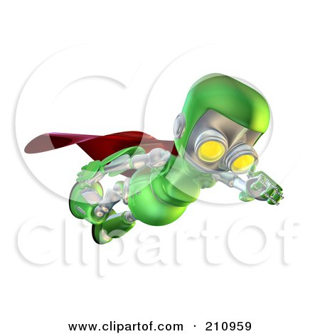 Royalty-Free (RF) Clipart Illustration of a 3d Green Robot Character Super Hero Flying And Looking Down by AtStockIllustration