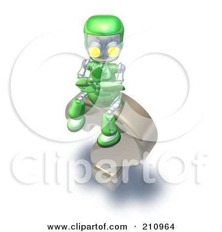 Royalty-Free (RF) Clipart Illustration of a 3d Green Robot Character Pondering On Top Of A Question Mark by AtStockIllustration