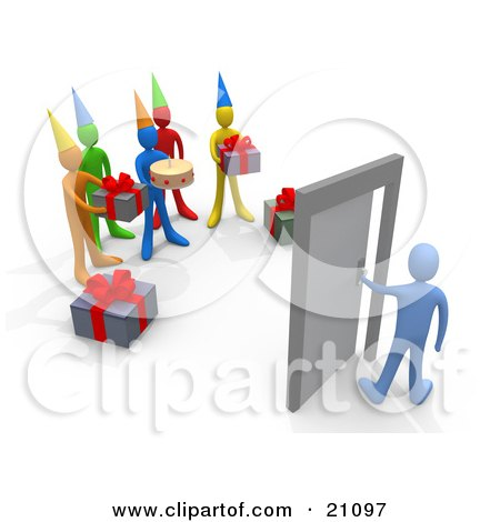 Clipart Illustration of a Surprise Birthday Party With Gifts And Cake, Waiting For The Birthday Person To Open The Door by 3poD