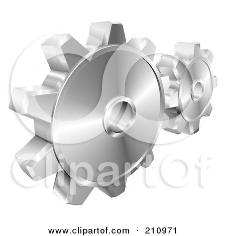Royalty-Free (RF) Clipart Illustration of a Couple Of 3d Shiny Metallic Gear Cog Wheels by AtStockIllustration