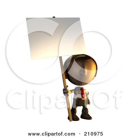 Royalty-Free (RF) Clipart Illustration of a 3d Business Man Character Mascot Standing Holding A Sign Placard On A Pole by AtStockIllustration