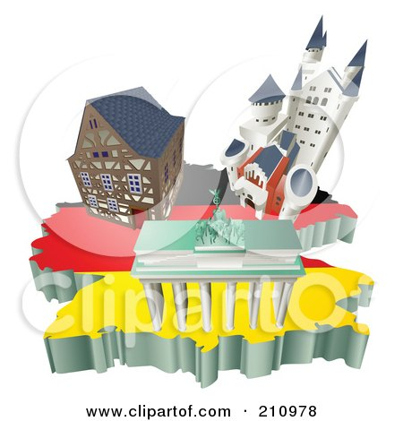 Royalty-Free (RF) Clipart Illustration of 3d German Tourist Attractions Over A Flag Map Of Germany by AtStockIllustration