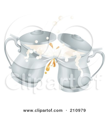 Royalty-Free (RF) Clipart Illustration of Two 3d Silver Oktoberfest Metal Ale Beer Mug Tankards Toasting by AtStockIllustration