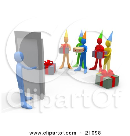 Clipart Illustration of a Blue Person Turning A Handle, Unaware Of A Surprise Birthday Party On The Other Side by 3poD