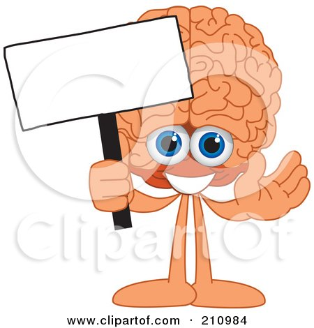Royalty-Free (RF) Clipart Illustration of a Brain Guy Character Mascot Holding A Blank Sign by Toons4Biz