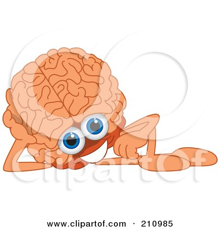 Royalty-Free (RF) Clipart Illustration of a Brain Guy Character Mascot Reclining by Toons4Biz