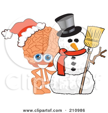 Royalty-Free (RF) Clipart Illustration of a Brain Guy Character Mascot With A Christmas Snowman by Toons4Biz