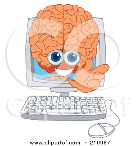 Royalty-Free (RF) Clipart Illustration of a Brain Guy Character Mascot In A Computer Screen by Toons4Biz