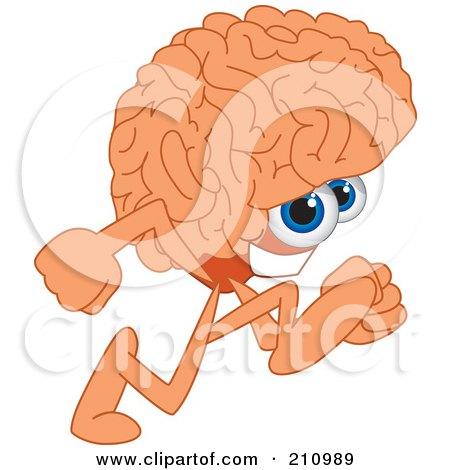 Royalty-Free (RF) Clipart Illustration of a Brain Guy Character Mascot Running by Toons4Biz
