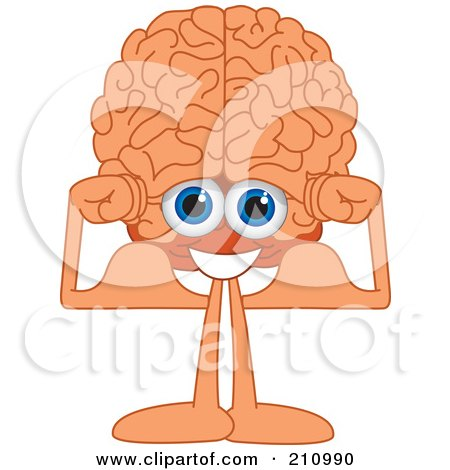 Royalty-Free (RF) Clipart Illustration of a Brain Guy Character Flexing His Muscles by Toons4Biz