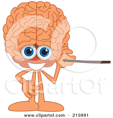 Royalty-Free (RF) Clipart Illustration of a Brain Guy Character Mascot Using A Pointer Stick by Toons4Biz