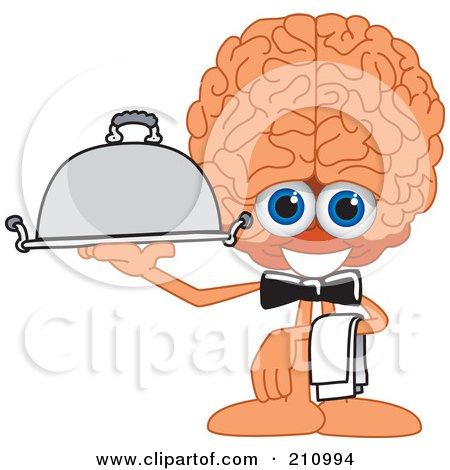 Royalty-Free (RF) Clipart Illustration of a Brain Guy Character Mascot Waiter Serving by Toons4Biz
