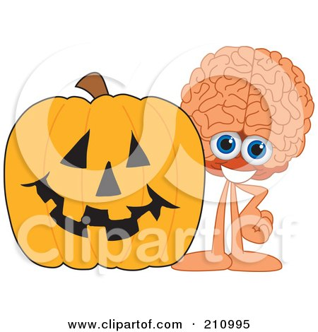 Royalty-Free (RF) Clipart Illustration of a Brain Guy Character Mascot With A Halloween Pumpkin by Toons4Biz