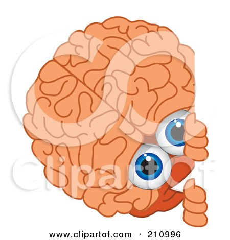 Royalty-Free (RF) Clipart Illustration of a Brain Guy Character Mascot Looking Around A Blank Sign by Toons4Biz