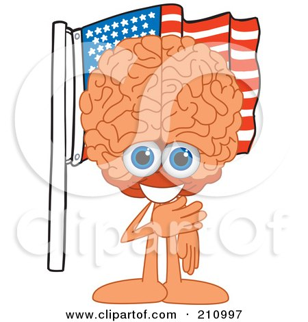 Royalty-Free (RF) Clipart Illustration of a Brain Guy Character Mascot Pledging Allegiance To An American Flag by Toons4Biz