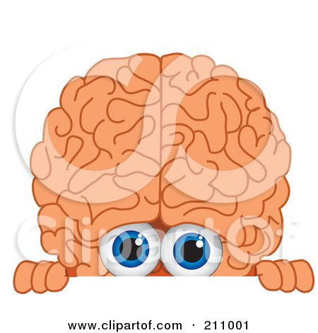 Royalty-Free (RF) Clipart Illustration of a Brain Guy Character Mascot Looking Over A Blank Sign by Toons4Biz