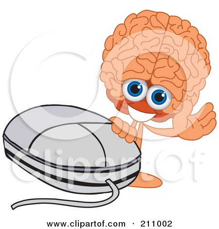 Royalty-Free (RF) Clipart Illustration of a Brain Guy Character Mascot Waving By A Computer Mouse by Toons4Biz