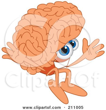 Royalty-Free (RF) Clipart Illustration of a Brain Guy Character Mascot Jumping by Toons4Biz