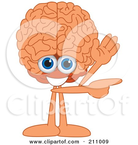 Royalty-Free (RF) Clipart Illustration of a Brain Guy Character Mascot Waving And Pointing by Toons4Biz